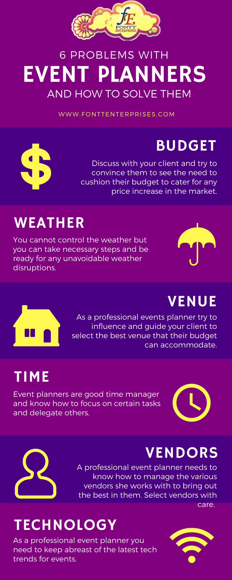 6 Problems with Event Planners and How to Solve Them - Infographic