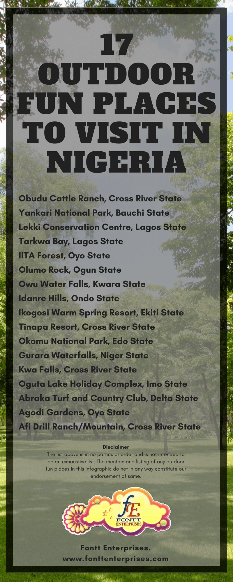 17 Outdoor Fun Places to visit in Nigeria