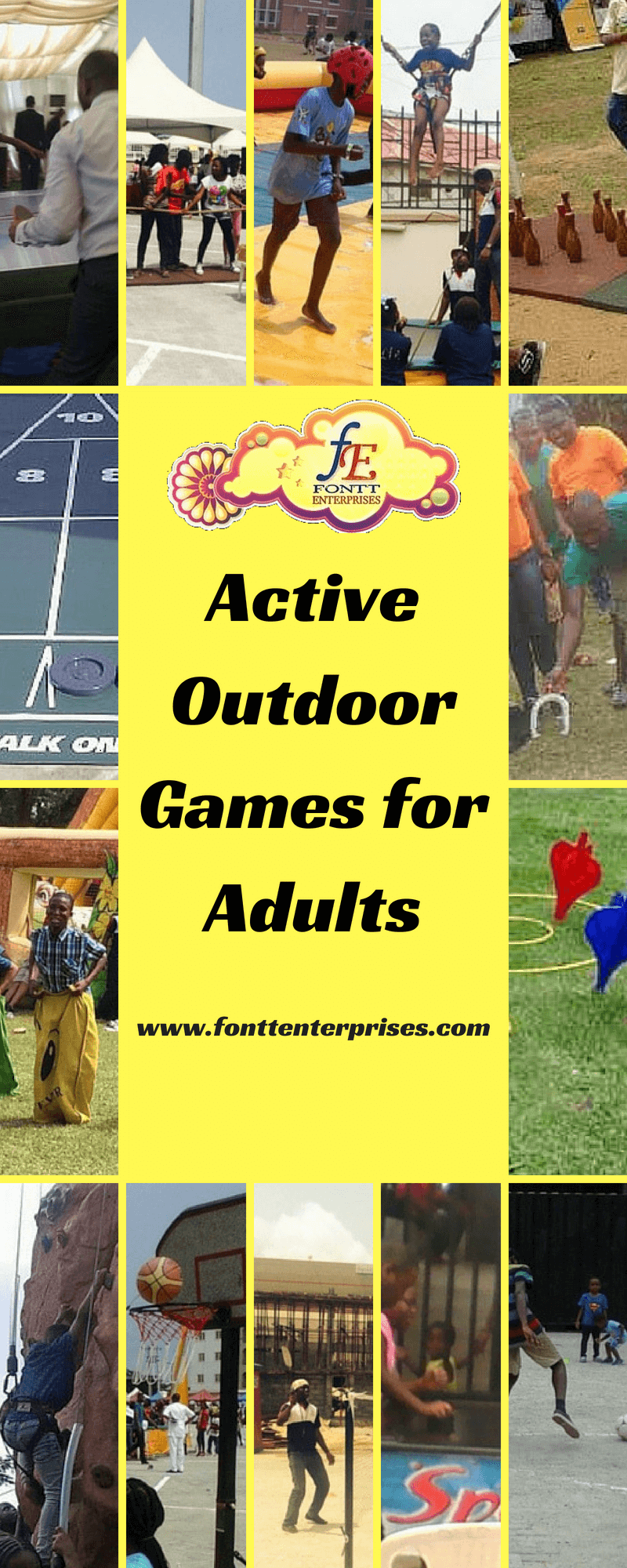 Active Outdoor Games for Adults Infographic